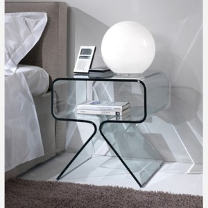 Mobiletto letto comodino in vetro – RELAX