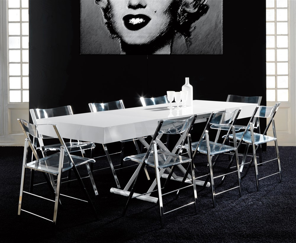 tavolino trasformabile block bianco laccato aperto