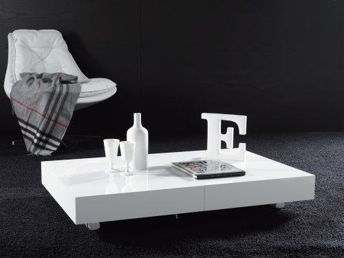 tavolino trasformabile block bianco laccato lucido