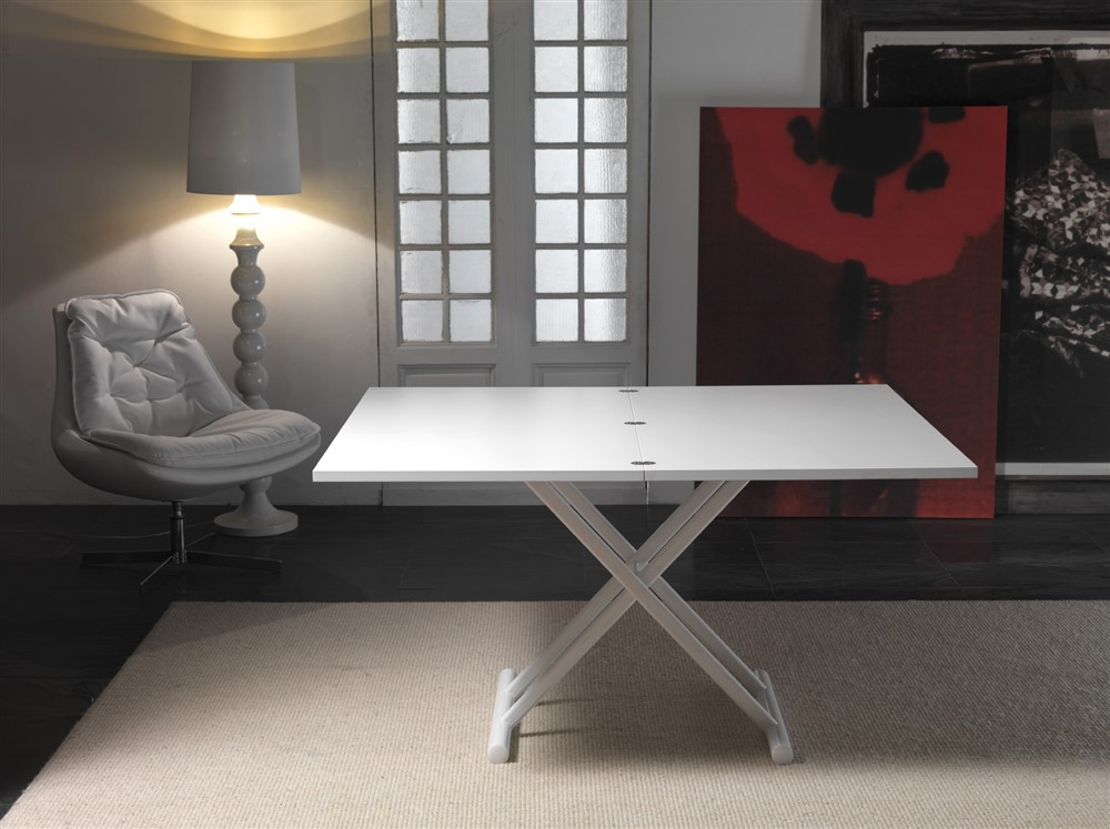 tavolino trasformabile saliscendi bianco opaco