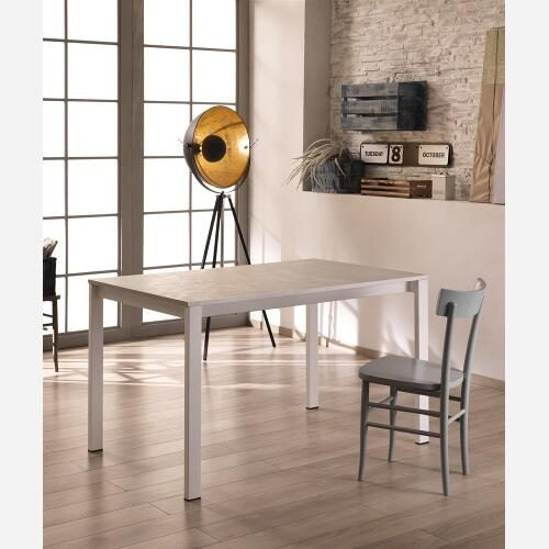 tavolo allungabile cemento bianco e bianco