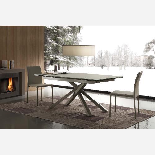Tavolo da cucina allungabile in cristallo e metallo Atlas - SG1601 ...
