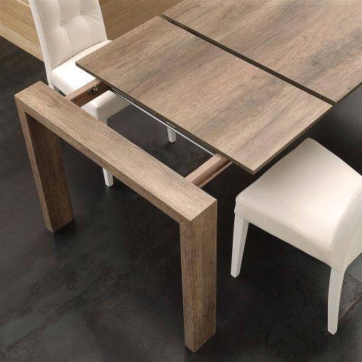 tavolo da cucina in legno allungabile moderno rovere nodato