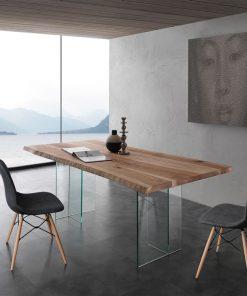 tavolo fisso in vetro e legno bio-glass