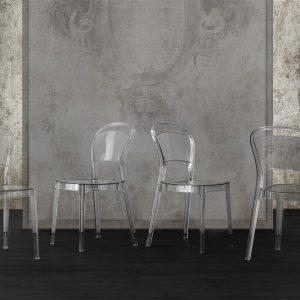 Set 4 sedie impilabili trasparenti – Germanasca