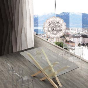 Tavolo fisso in legno e vetro Parnaso – SG1644