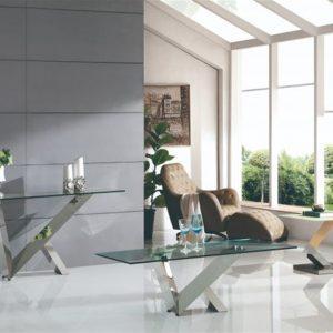 Consolle mirach metallo piano in vetro trasparente – ITA67