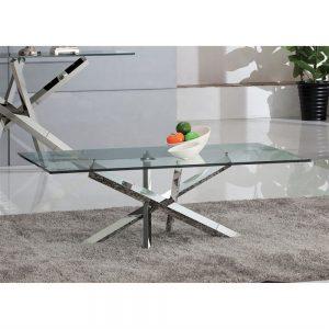 Tavolino da salotto meissa metallo piano in vetro trasparente – ITA69