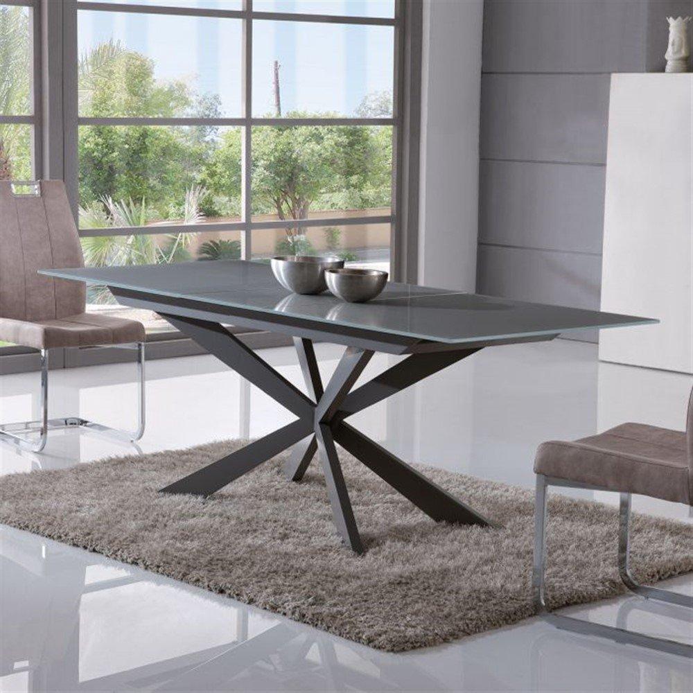 Tavolo acrux allungabile metallo piano in vetro ita62 for Tavoli design online