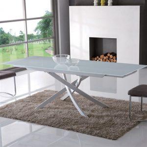 Tavolo alchiba allungabile metallo verniciato piano in vetro – ITA60