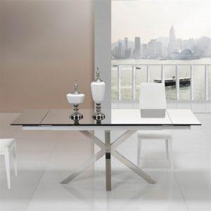Tavolo altair allungabile metallo piano in vetro – ITA61