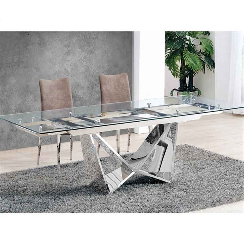 Tavolo Allungabile Cristallo Trasparente.Tavolo Atik Allungabile Metallo Piano In Vetro Trasparente Ita59