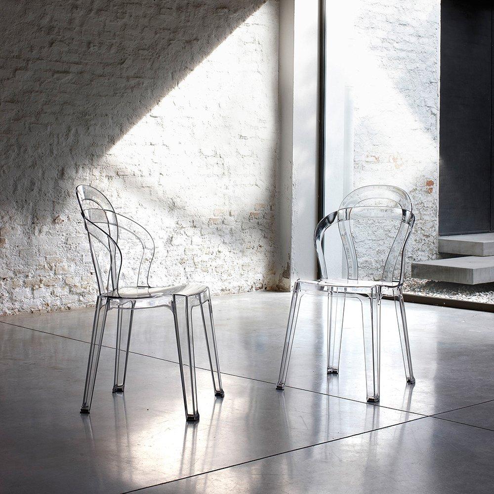 Sedie Trasparenti Design.Set 4 Sedie Impilabili Angrogna