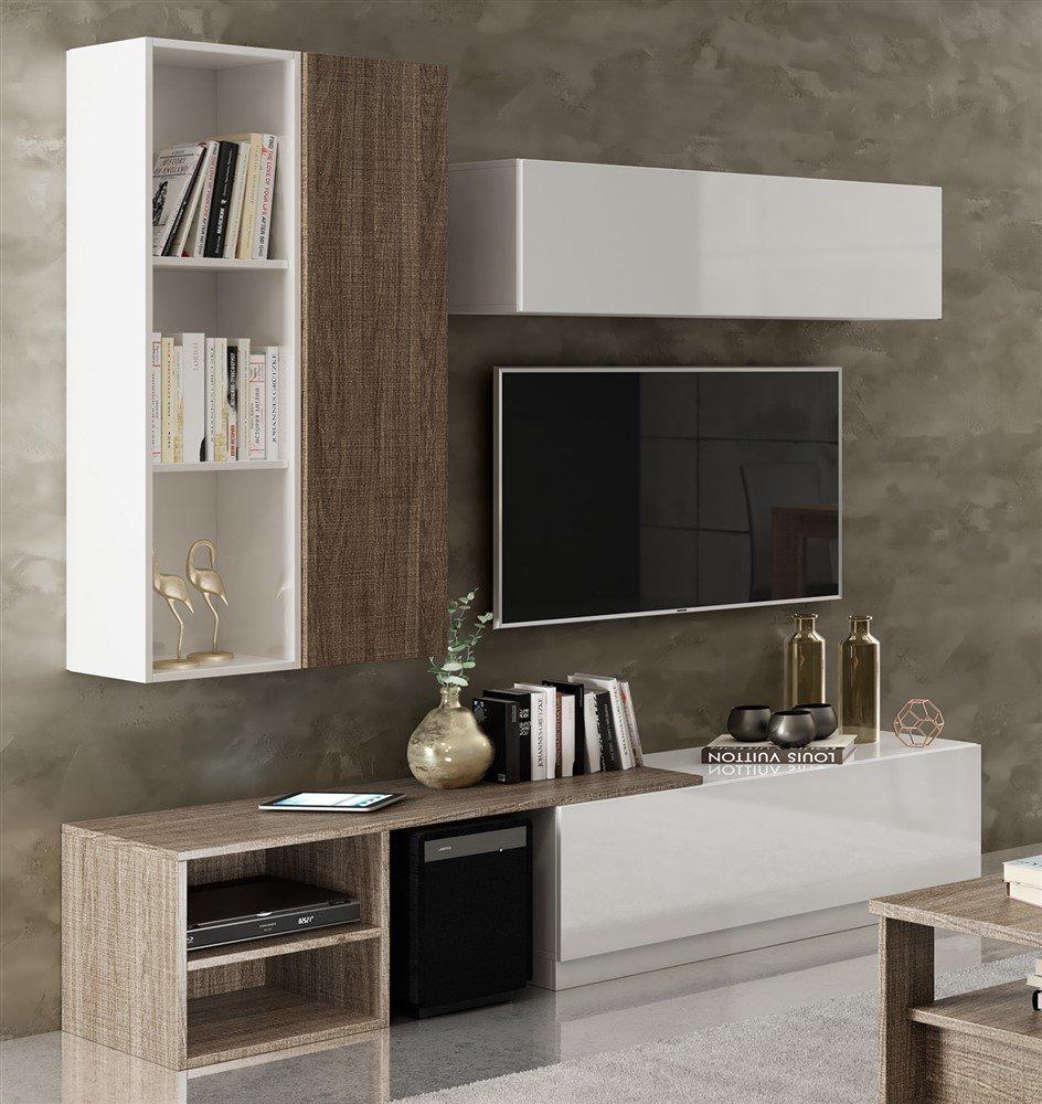 Parete attrezzata moderna in legno va1168 emporio3 for Parete decorata moderna